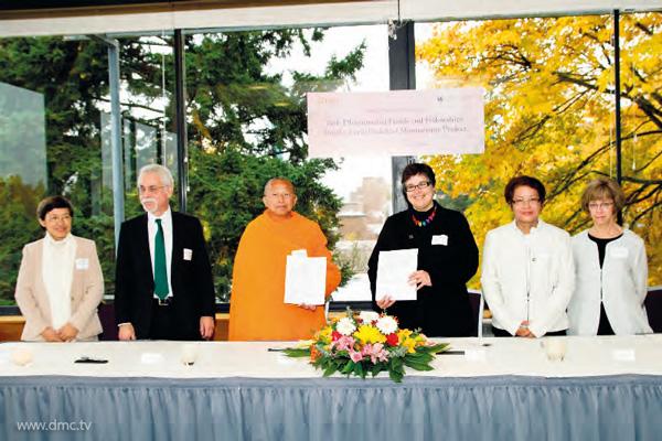 การลงนามสัญญาความร่วมมือทางวิชาการของสถาบันดีรีกับมหาวิทยาลัยวอชิงตัน สหรัฐอเมริกา ในโครงการศึกษาคัมภีร์พระพุทธศาสนายุคต้น