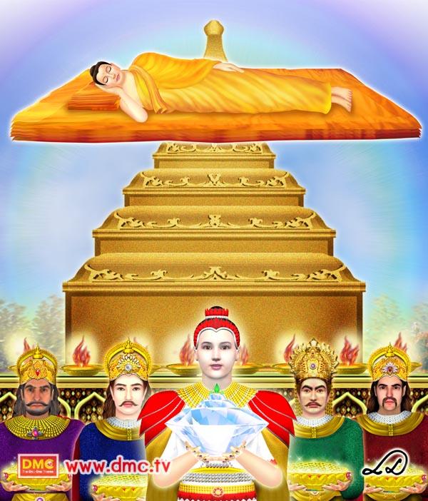 ประวัติพระพุทธเจ้า - แบ่งพระพรมสารีริกธาตุ
